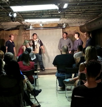 "James and his crew do their thing, in presentation of their ""Improv & Characters for near beginners"" session."